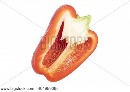 Red Sliced Pepper Isolated On White Background. Bell Pepper Isolated. Sweet Red Pepper Isolated. Pap