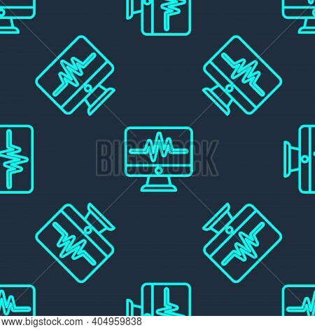 Green Line Computer Monitor With Cardiogram Icon Isolated Seamless Pattern On Blue Background. Monit