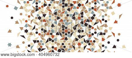 Arabesque Vector Color Mix Pattern. Geometric Halftone Texture With Color Tile And Mosaic Disintegra