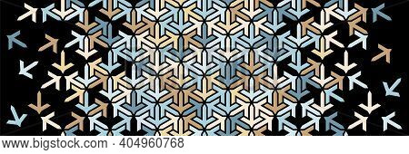 Geometric Border. Islamic Vector Pattern. Colorful Decor With Mosaic And Tile Disintegration On Blac