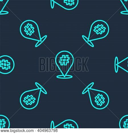 Green Line Protest Icon Isolated Seamless Pattern On Blue Background. Meeting, Protester, Picket, Sp