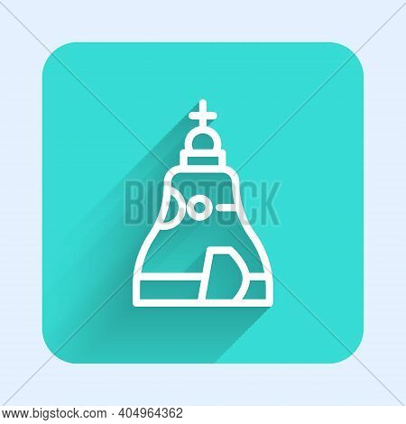 White Line The Tsar Bell In Moscow Monument Icon Isolated With Long Shadow. Green Square Button. Vec