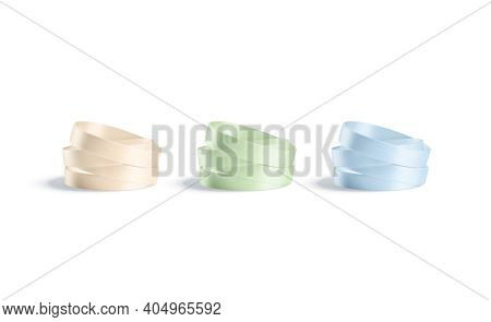 Blank Colored Silicone Wristband Stack Mock Up, Isolated, 3d Rendering. Empty Pink, Blue And Green R