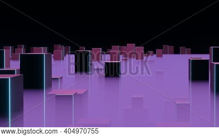 Abstract Futuristic Evening City With Skyscrapers In Haze, 3d Illustration
