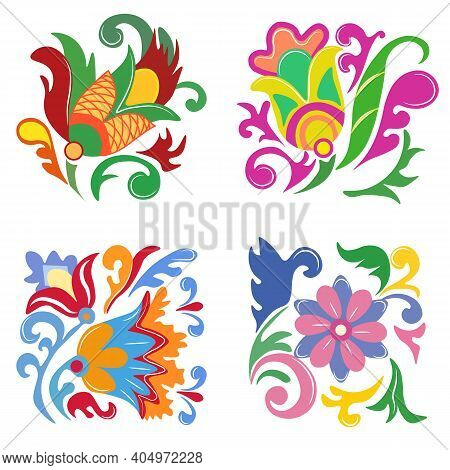 A Composition Of Folk Elements, Stylized Colors And Patterns. For Greeting Card, Banner, Folk Art, B