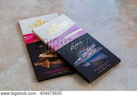 Kyiv, Ukraine - March 11, 2020: Chocolate Bars Libeert On Marble Table. Libeert Is A Family Owned Be