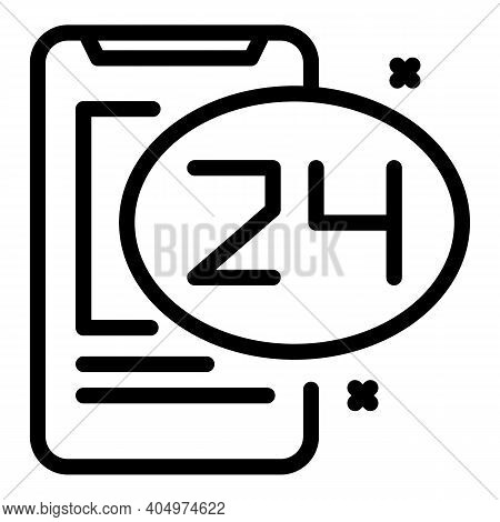 24 Hours Agent Support Icon. Outline 24 Hours Agent Support Vector Icon For Web Design Isolated On W