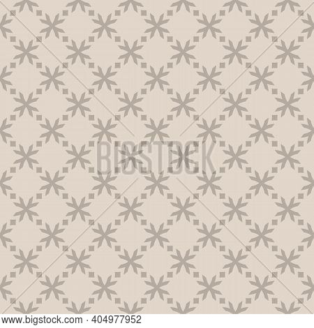 Vector Floral Geometric Seamless Pattern. Simple Abstract Geometrical Ornament With Flower Shapes, C