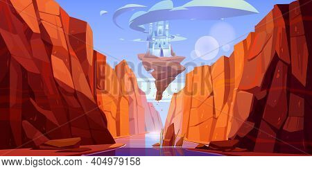Magic Blue Castle On Rock Flying Above River In Canyon. Vector Cartoon Fantasy Illustration Of Mount