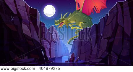 Fairytale Dragon Flying Above River In Canyon At Night. Vector Cartoon Fantasy Illustration Of Mount