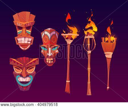 Tiki Masks And Burning Torches, Tribal Wooden Totems, Hawaiian Or Polynesian Attributes, Scary Faces