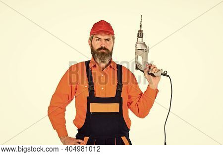Perforator And Bit. Powerful Drill. Buy Drill. How To Drill Wall Without Hitting Something. Man In C