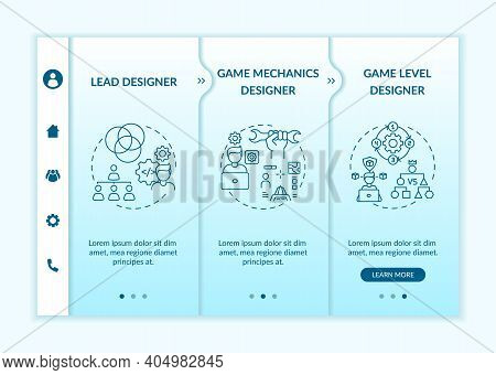 Game Designers Types Onboarding Vector Template. Lead Designer Of Game Creation Team Project. Respon