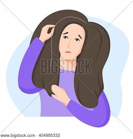 Woman Found Grey Hair, Worry About Getting Old And Turning Grey, Dissatisfaction With Oneself, Appea