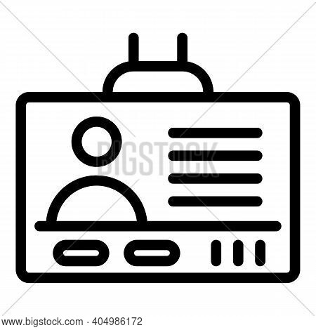 Holder Id Card Icon. Outline Holder Id Card Vector Icon For Web Design Isolated On White Background