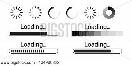 Loading Icons. Set Of Loading Icon On White Background .load Bar Vector Illustration . Downloading P