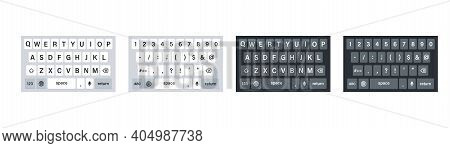 Smartphone Keyboard , Vector Illustration. Set Of Phone Keyboards In Light And Dark Mode.keypad Mock