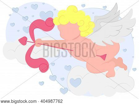 Cupid With A Bow In His Hands In The Clouds With Hearts. Cupid Ancient Mythology Fantasy. Vector Ill