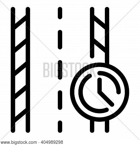 Highway Timer Icon. Outline Highway Timer Vector Icon For Web Design Isolated On White Background