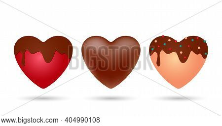 Set Of Realistic Delicious Chocolates. Chocolate Heart, Red Heart In Chocolate Glaze And Heart Of Wh