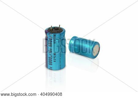 Electrolytic Capacitor Isolated On A White Background