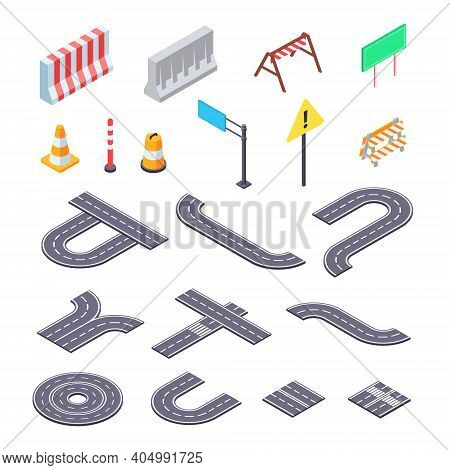 Road Under Construction Isometric Ket. Elements Of Street Asphalt And Warning Road Signs For Creatio
