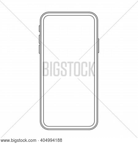 Modern Phone With A Bright Screen. Vector Illustration
