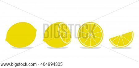 Set Of Whole And Sliced Lime Or Lemon With Leaf.