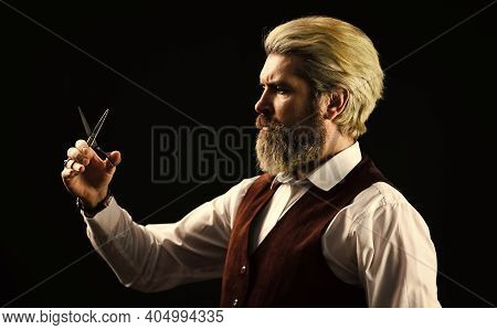 Hipster Barber Man. Caucasian Hipster With Moustache. Male In Barbershop. Mature Man With Dyed Hair