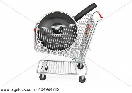 Shopping Cart With Frypan. 3d Rendering Isolated On White Background