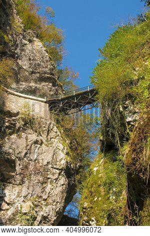 The Upper Devil's Bridge Crossing The Tolminka River Which Flows Through Tolmin Gorge In The Triglav