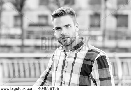 Salon Care For Your Need. Handsome Man Urban Outdoors. Unshaven Guy With Stylish Haircut. Hair Salon