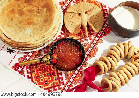Still Life. Maslenitsa Maslenitsa Maslenitsa Week. Stack Of Russian Pancakes Pancakes With Red Cavia