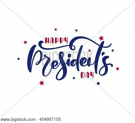 Logo Happy Presidents Day With Stars And Ribbon. Vector Illustration Hand Drawn Text Lettering For P