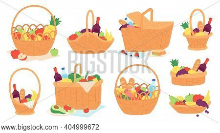 Picnic Baskets. Wicker Hampers With Food And Wine Bottle On Blanket For Outdoor Meal. Cartoon Gift B