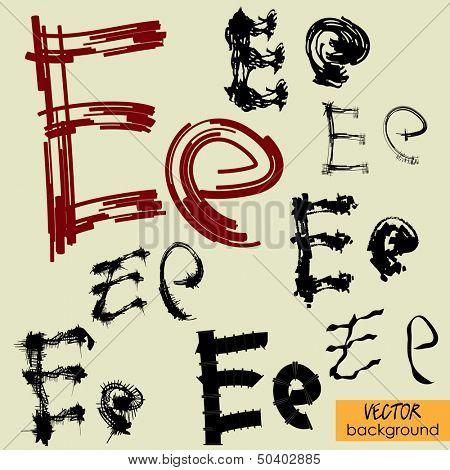 art sketch set of vector character fonts symbols, sign E