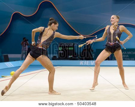 KIEV, UKRAINE - AUGUST 31: Team Italy performs the routing with clubs during the 32nd Rhythmic Gymnastics World Championships in Kiev, Ukraine on August 31, 2013