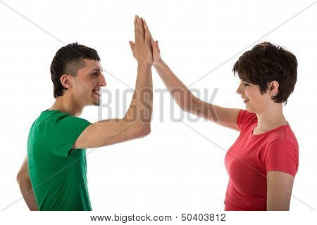 Man And Woman Giving A High Five Isloated On White