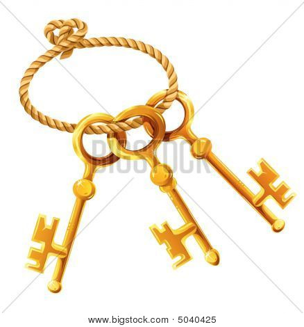 Set Of Gold Keys On The Rope Isolated