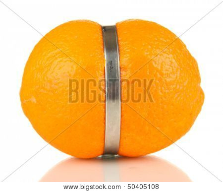 Lemon squeezed in metal clamp, isolated on white