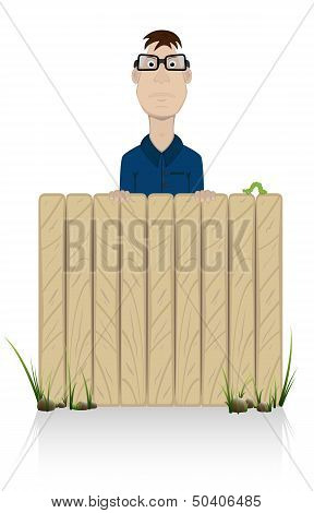 The person behind a fence