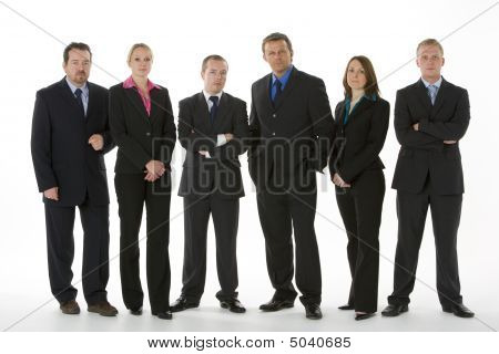 Group Of Business People Standing In A Line