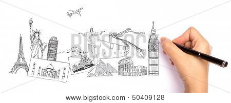 Drawing travel around the world (Japan,France,Italy ,New York,India,egypt,china,london,brazil)