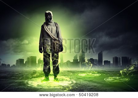 Image of stalker touching media sign. Pollution and disaster