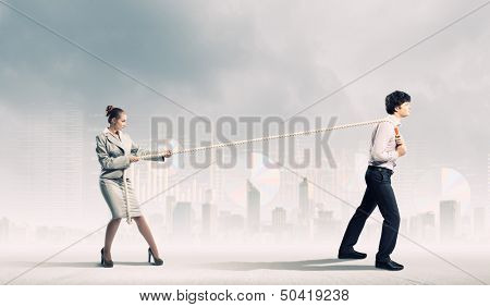 Image of three businesspeople with rope against diagram background poster
