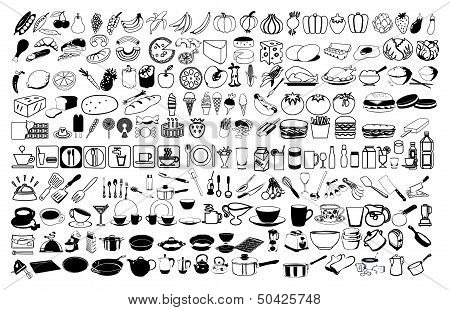 Vector icons of food