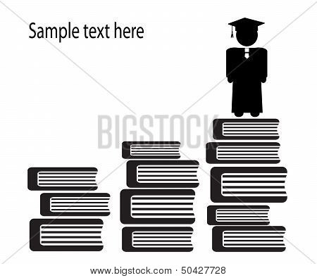graduate and stairs of books