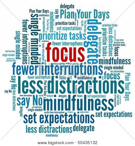 Focus at Work in word collage