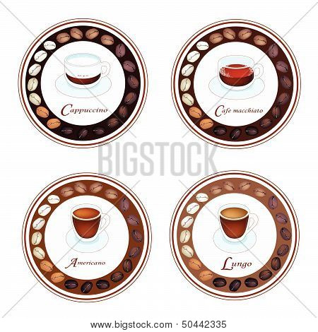Four Kind Of Coffee Drink In Retro Round Label