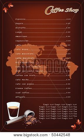 coffee menu template vector photo free trial bigstock